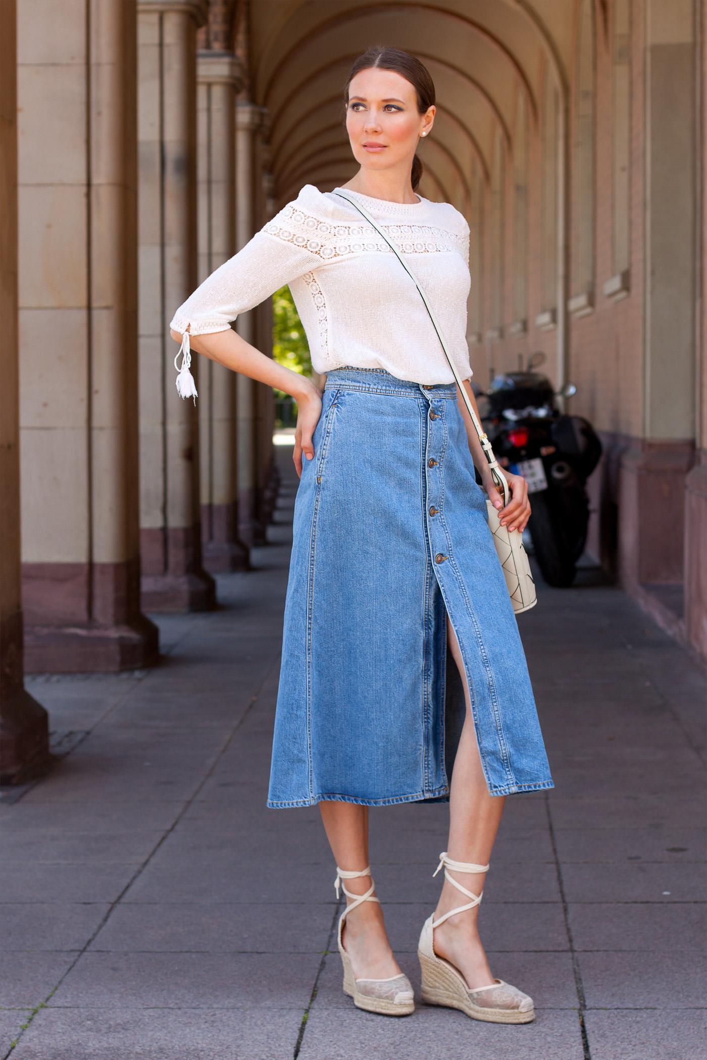Denim maxi skirt outfits | Global trend skirt blog