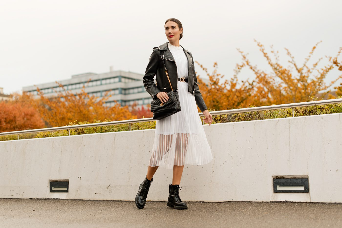 Outfit: Leather Jacket & White Lace Dress